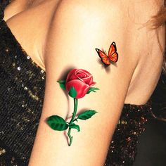 Red Butterfly Rose 3d Temporary Tattoo Body Art Flash Tattoo Stickers 19*9cm Waterproof Henna Tatoo Selfie Fake Tattoo Sticker - ExtremShopping for Fashion Electronics Beauty and Health