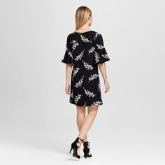 Women's Floral Crepe Flutter Sleeve Dress - Merona Black and Sour Cream Xxl