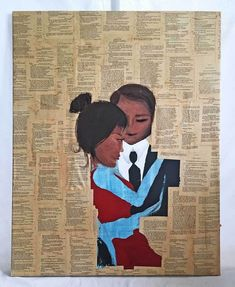 The pages of Othello applied to the canvas as a background for a pair of Black lovers. If you are expecting it to be new in the box, never touched by life or human hands, it is not for you. Black Women Art, Beautiful Black Women, African American Art, African Art, Painting Collage, Paintings, Othello, Female Art, Folk Art