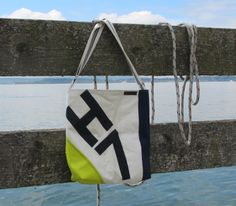 #Sail bag made of #recycled sailcloth with #neon and #stripes by Rough Element. #nautical #maritime style. More sail bags: www.Etsy.com http://RoughElement.dawanda.com