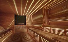 Thin wood. slates w/ under bench lighting
