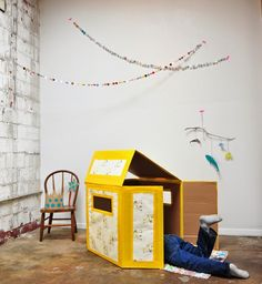 Turn a humble cardboard box into a den and when its looking tired recycle and work on a new creation - be inspired by The Paper Playhouse by Katrina Rodabaugh