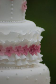 White ruffles and cherry blossom wedding cake | Flickr - Photo Sharing!