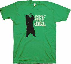 Hey Girl! - Funny Boys Shirt - Bear - Waving Bear Tshirt - Tee Shirt - Youth Bloom