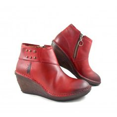 Fly London Sade Wedge Ankle Boots in Red Leather | rubyshoesday