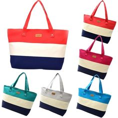 Fashion Women Canvas Handbags Striped Totes Bags-Beautify Sweden