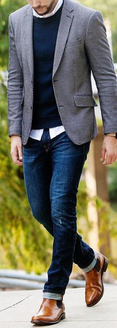 Fashion, Clothing, Shoes: Looks with which the checkered jacket will not be like the one of the whole world Fashion Mode, Moda Fashion, Fashion Outfits, Mode Man, Style Masculin, Mens Fashion Blazer, Men Blazer, Casual Outfits, Men Casual