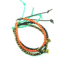 beaded crystal friendship bracelets with easy slide leather tassel opening & closing and micro solid brass charm by Etelage!