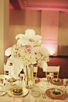 Tall Feather Centerpiece with hydrangeas and roses for the entrance table for Megs and Brian's wedding.