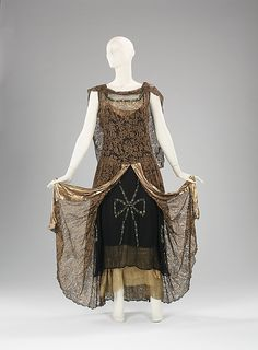 Evening dress | Alice Herbin & Co. | French | 1929 | silk, metal | Brooklyn Museum Costume Collection at The Metropolitan Museum of Art | Accession Number: 2009.300.2907a–c