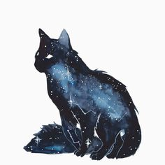 Galaxy Cat by ThreeLeaves. on - Galaxy Cat by ThreeLeaves. Art And Illustration, Warrior Cats, Fantasy Kunst, Fantasy Art, Fantasy Creatures, Mythical Creatures, Art Galaxie, Animal Drawings, Art Drawings