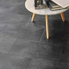 "Tarkett Starfloor Click 55 Vintage Zinc Black"" x cm) Tarkett Vinyl Flooring, Laminate Flooring Colors, Flooring Tiles, Kitchen Decor Items, Braided Area Rugs, Tuile, Modern Contemporary Homes, Wood Panel Walls, Solid Wood Furniture"