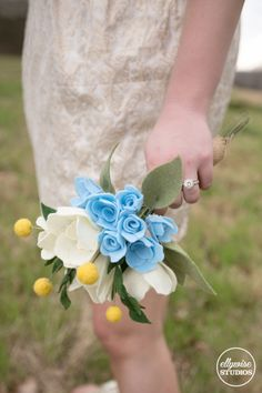 Rehearsal bouquet Cinderella style spring blue gold rehearsal dress felt flowers Ellywise Studios memphis