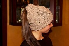 Warm winter cap with an opening at the top of your hair and free hair by PletenineJovanka on Etsy