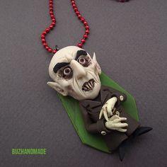 Nosferatu cult horror FANART polymer clay  necklace by Buzhandmade, €24.00