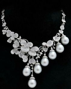 Diamond and Pearl Necklace ~: