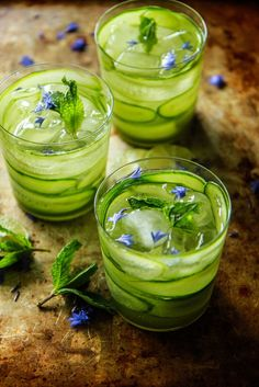 Cucumber Mint Gin and Tonics from http://HeatherChristo.com