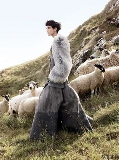 Stella Tennant with sheep Vogue editorial November 2010 Photographed by David Sims