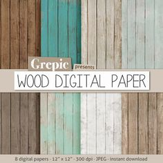 """WOOD DIGITAL PAPER"" with rustic wood texture and distressed wood grain in teal, brown, grey, digital wood background"