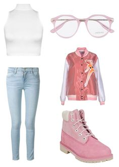 """""""Pink"""" by madddgalriri ❤ liked on Polyvore featuring Au Jour Le Jour, Timberland, Frame Denim, WearAll and Jason Wu"""