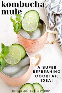 Need a new summer cocktail idea? Make a Kombucha Mule! This Moscow Mule recipe uses Kombucha instead of ginger beer to give it that tangy flavor you love with a twist. With fresh lime juice and cucumber flavored vodka you'll be craving this drink! Pineapple Vodka, Peach Vodka, Watermelon Vodka, Strawberry Vodka, Blueberry Cocktail, Blueberry Vodka, Flavored Vodka Drinks, Vodka Recipes, Vegan Recipes