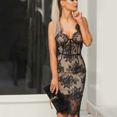 Vintage Mid Bodycon Bandage Long Lace Party Vestido #Bodycondress #spring2021 #summen #fashion #stylish #likeforlike #comment #follow4follow