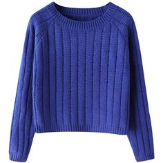Chicnova Fashion Vertical Stripes Pure Color Sweater (830 UAH) ❤ liked on Polyvore featuring tops, sweaters, shirts, jumpers, blue shirt, blue jumper, vertical stripe top, blue top and slimming shirts