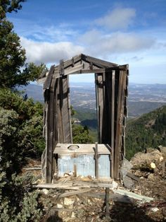 The remnants of an old outhouse at the summit of Mount St. Helena ...