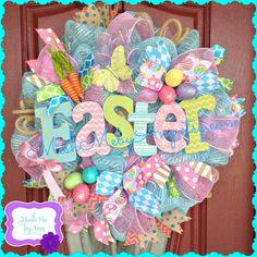 Easter deco mesh wreath,  spring deco mesh wreath
