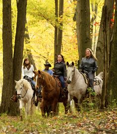 Horseback riding is a year-round outdoor activity in the Pocono Mountains and is a great way to view stunning fall foliage! #PoconoMtns