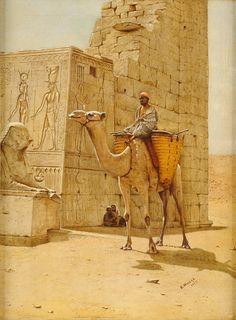 Duesseldorfer Auktionshaus  Widdas, C. 19./20. Jhdt. Kamelreiter bei Karnak. Signiert. Datiert 1917. Öl/Lwd., 46 x 36 cm