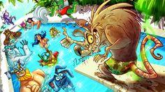 Twitch League of Legends Pool Party Fizz Olaf Ziggs Volibear Irelia Ezreal Renekton Annie Ahri Chogath 1920x1080