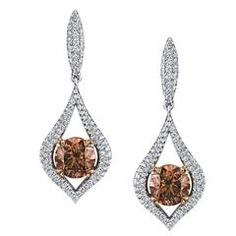 Round Brilliant Fancy Dark Orange Brown and Colorless Diamond Gold Earrings