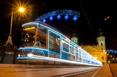 The illuminated tram of Debrecen Transport Ltd. on Kossuth Square in Debrecen, Hungary will run during the Christmas season from Advent to Epyphany.