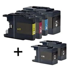 Compatible 4 + 2 extra black Colour Brother LC1240 Ink Cartridge Multipack