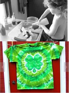 Before and After: Shamrock 4 Leaf Clover Tie Dye Shirt by Twirlytoes