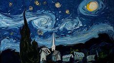 Garip Ay, il reproduit une oeuvre de Van Gogh en papier marbré