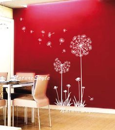 Dandelion wall decal flower kids boy girl nursery wall mural by NatureStyle Baby Room Decals, Nursery Wall Murals, Kids Wall Decals, Nursery Room, Room Baby, Girl Nursery, Wall Stickers, Bedroom Wall, Vinyl Decals