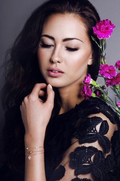 make-up, beauty, glam, nude, glow, jewelry, hair styling, flowers