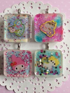 Lot of 4 Handmade Kawaii Resin Charms/Pendants, Kawaii Resin Pieces, Square Resin Hamster Pendants on Etsy, $11.00