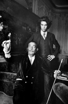 Salvador Dali and Francois-Marie Banier, Paris, 1963, photo by Alecio de Andrade. This is not a photo of the young Yves St Laurent with Dali, as most everyone seems to believe.