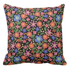 Shop Folk Art Style Floral Pattern on Black Throw Pillow created by poshandpainterly. Floral Throws, Floral Cushions, Black Throw Pillows, Floral Throw Pillows, Office Gifts, Custom Pillows, White Ceramics, Folk Art, Pattern