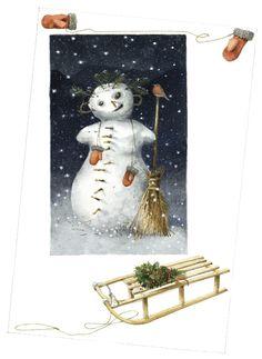 """❄Hiver❄ """"Bonhomme de neige en suisse"""" dessin de Marjolaine Bastin."""