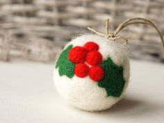 Felted Christmas ball - cute.