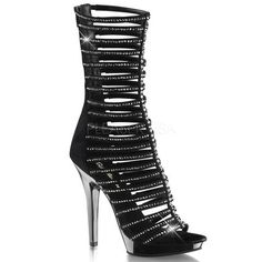 This calf high strappy sandal features a heel, a platform, rhinestone embellished straps and a back zip. Calf High Strappy Sandal with Heel, Sexy Platform Sandal Sexy High Heels, Frauen In High Heels, Womens High Heels, Black Heels, Nice Heels, Black Suede, Ankle Boots, High Heel Boots, High Heel Pumps