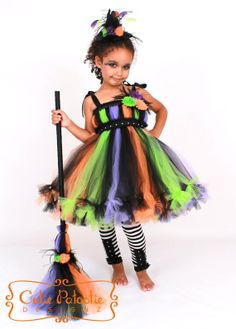 Petti Tutu Dress - Halloween Witch Costume - Green Orange Purple Black - Twinkling Trickster - 5-6 Youth Girl - CPDz on Etsy, $95.00