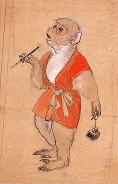 Artist Kawamura Kiyoo, about Japan East Of Eden, Poster Ads, Monkey Business, Japanese Painting, Funny Valentine, Animal Paintings, Beast, Creatures, Monkeys