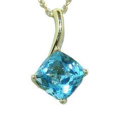 Blue Topaz Pendant in 14 ky https://www.goldinart.com/shop/necklaces/colored-gemstones-necklaces/blue-topaz-pendant-14-ky #14KaratYellowGold, #BlueTopaz