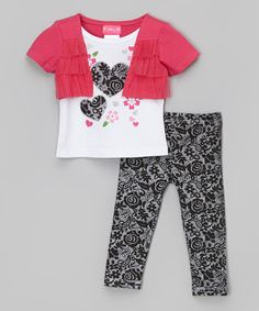 Take a look at the Penny M White Heart Tee & Floral Leggings - Infant, Toddler & Girls on #zulily today!