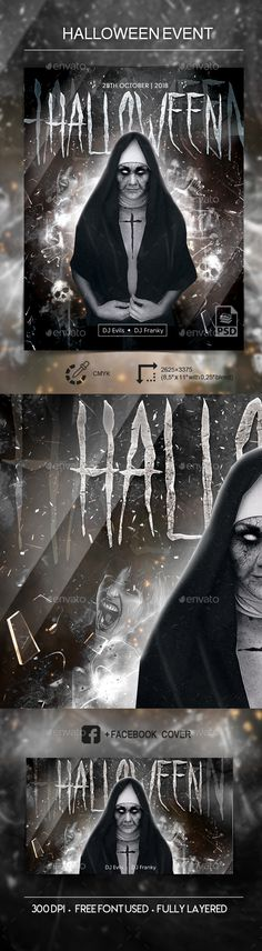 Buy Halloween Party - PSD Flyer Template by dr_slide on GraphicRiver. Halloween Party Flyer Template File in PSD Fully Customizable CMYK Fully lay. Halloween Party Poster, Halloween Flyer, Halloween Design, Psd Flyer Templates, Print Templates, Flyer Printing, Flyer Design, Flyers, Graphic Design